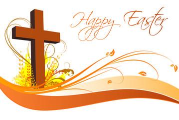 Frohe Ostern Floral mit einem Kreuz