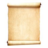Old vintage scroll isolated on white background
