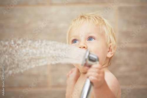 canvas print picture Blond baby in the bathroom