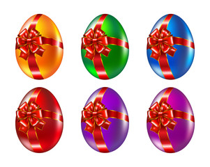 Colored easter eggs with a bow