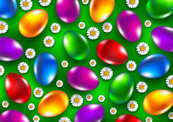 Colored easter eggs with flowers