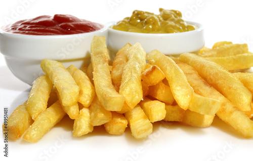 Poster Patatas fritas con salsas.