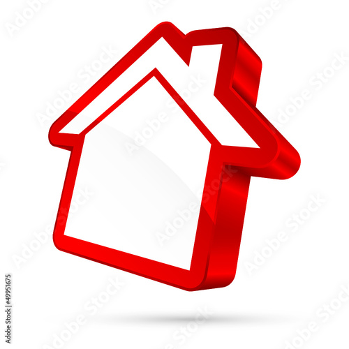 House Sign 3D White/Red