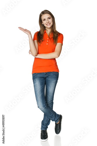 Full length of casual woman showing empty copy space