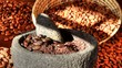 Time lapse mortar and pestle with raw cocoa beans