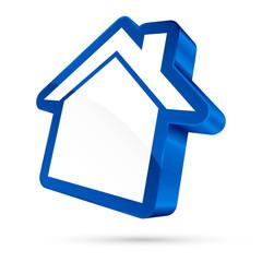 House Sign 3D White/Blue