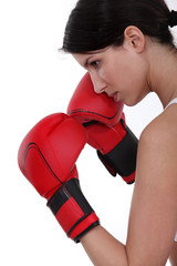 Determined female boxer