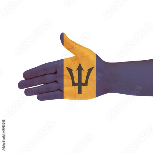 Barbados flag on hand isolated on white background