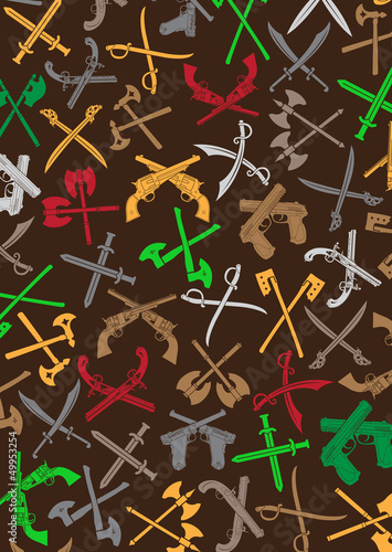 Crossed  Weapons Silhouettes Background