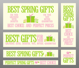 Best Spring gifts banners set.