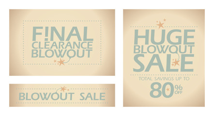 Final clearance banners in retro style