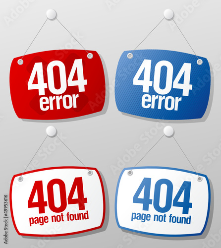 404 error signs set