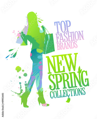 New spring collections design template with shopping woman silho