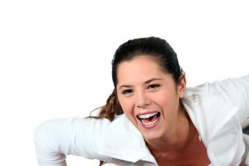 Woman screaming for joy