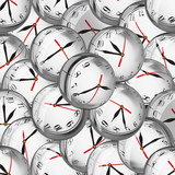 Clocks in bubbles - deadlines and time management concept