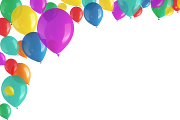 Children's party colorful balloons on white background