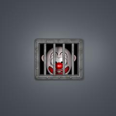 clown hinter gittern