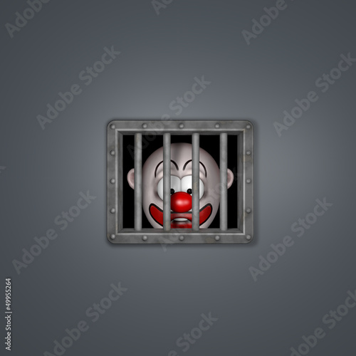 clown hinter gittern