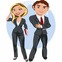 Hombre y mujer de negocios elegantes