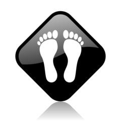 footprint black square glossy internet icon