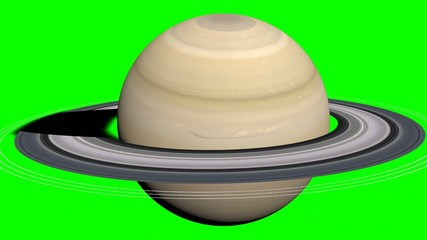 saturn planet with green screen