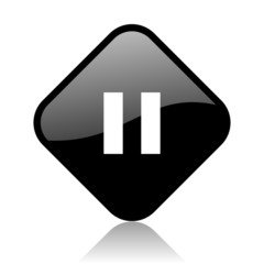 pause black square glossy internet icon