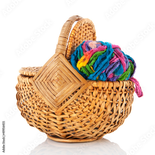 modern ball wool in basket