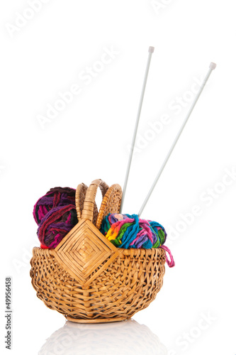 modern wool in basket with needles