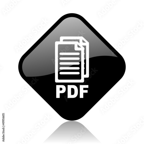 pdf black square glossy internet icon