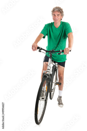 Man on bike in studio