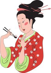 Japanese lady enjoying sushi
