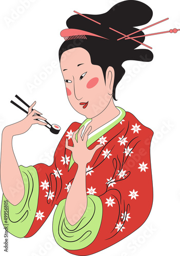 Japanese lady enjoying sushi