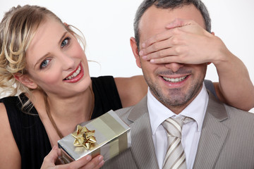 Couple with a surprise gift