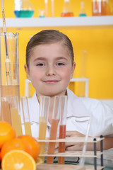 little girl in a lab