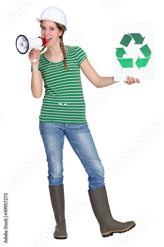 Eco-friendly tradeswoman