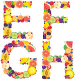 Alphabet from fruit EFGH