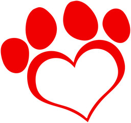 Red Love Paw Print