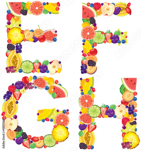 Alphabet from fruit EFGH