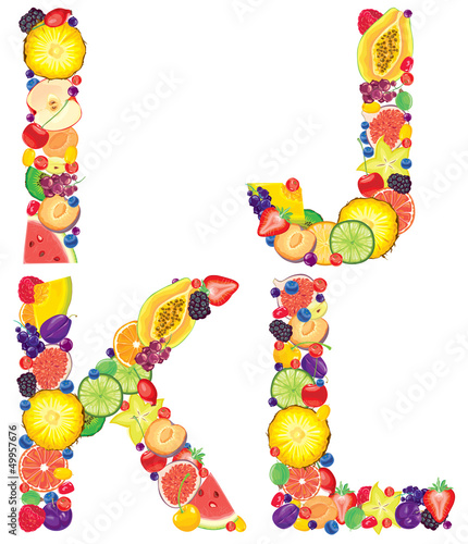 Alphabet from fruit IJKL