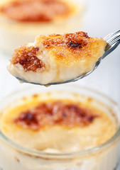 Creme Brulee  on a spoon