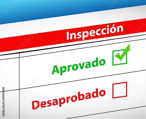 Inspection Results passed and fail selection