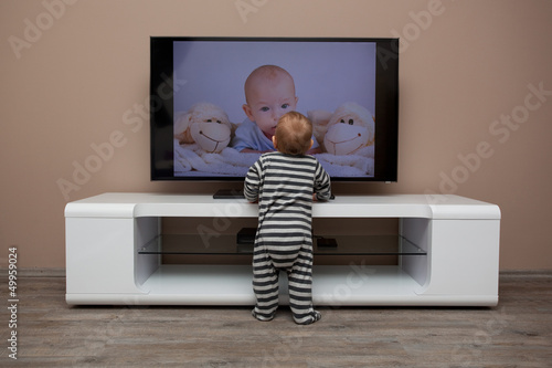 baby boy watching television
