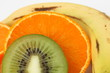 kiwi, platano y naranja