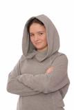 Positive  girl is in grey hoodie. poster