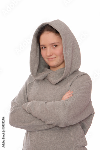 Positive  girl is in grey hoodie.