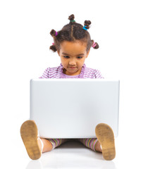 Girl using notebook computer