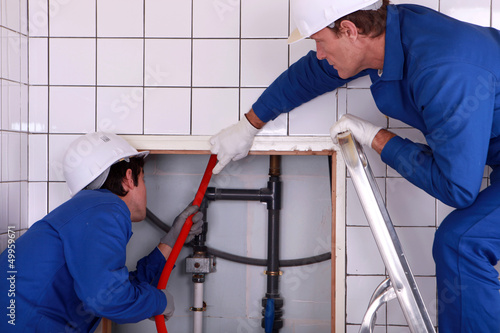 portrait of two plumbers