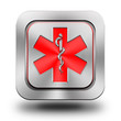 Pharmacy aluminum glossy icon, button