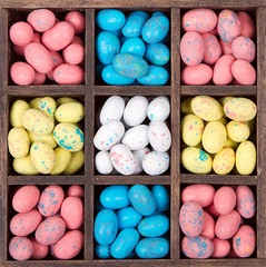 Easter candy in a wooden box