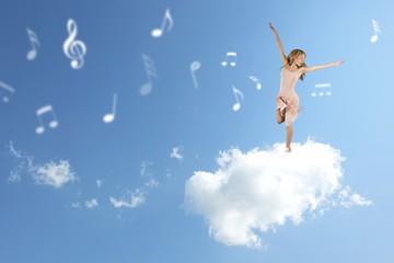 Classic dancer over a cloud
